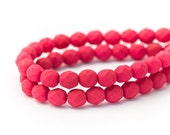 Saturated Fuchsia Rose Fire Polished Round Spacer Beads, Dark Pink, Matte Opaque Faceted Czech Glass, 6mm x 25pc (0018)