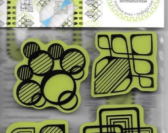 Rubber Stamp   --  NEW  -- Modern Shapes Cling Stamp set --  Inkadinkado Brand  --  (#1676)