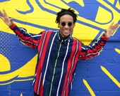 Vintage Mens Preppy Button Up Shirt - 90s Classic Striped Long Sleeved Men's Shirt by Nautica - XL - Hip Hop Dancer Street Fashion