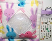 I Spy Bag Bunny Rabbits Neutral themed contents girls boys seek and find, Easter basket filler, travel toy