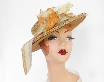 1930s boater hat with bird, vintage Laddie Northridge