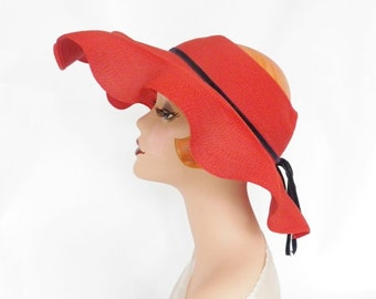Vintage 1940s hat, red poke, wide brim, NY Creation