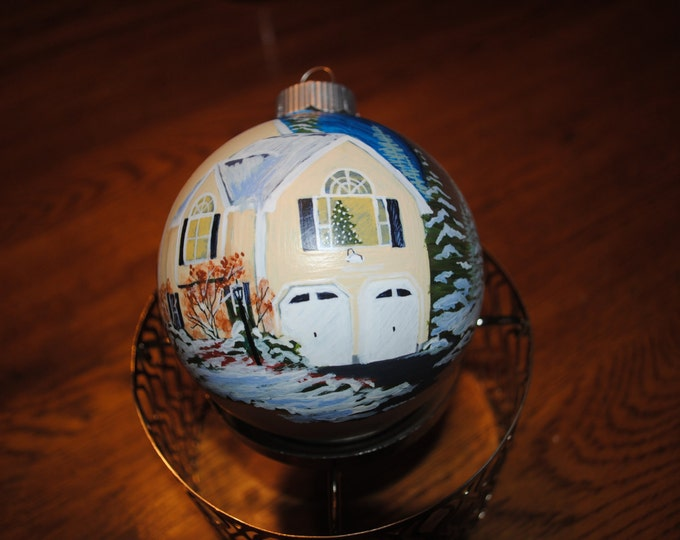 Custom Home Hand Painted Ornament,  Memories at sisters - sold