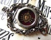 Sacred heart antique engraved watch bracelet cuff religious one of a kind Catholic 7 sorrows ex voto jewelry assemblage