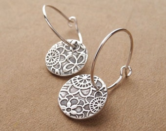 Flowered Hoop Earrings, Fine Silver, Argentium Sterling Silver Ear Wires, Handmade in the USA, Made To Order