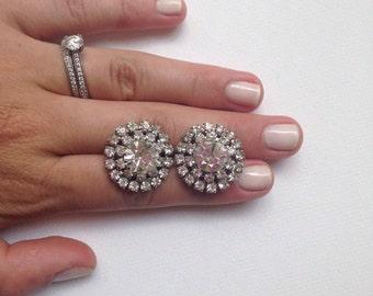 Sparkling Crystal Rhinestone Starburst Diamond Halo Earrings - Marie