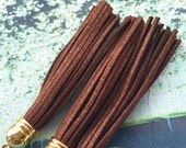 10pcs 85mm Gold cap--Shiny Brown suede leather tassel findings pendants