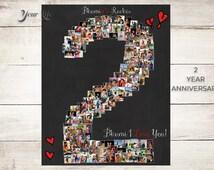 2 YEAR ANNIVERSARY, 2nd Anniversary Gift Photo Collage,  Anniversary Gift for boyfriend,  Anniversary Gift for girlfriend, Two Year Wedding
