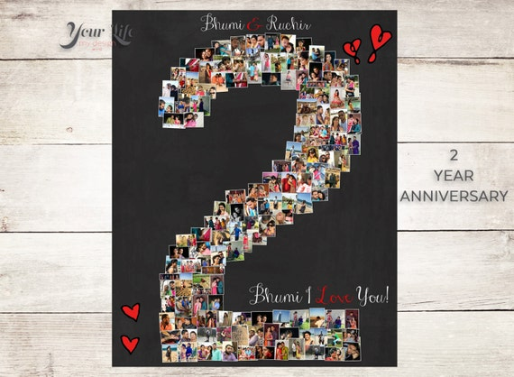 2nd Year Wedding Anniversary Gift Ideas For Him: 2 YEAR ANNIVERSARY 2nd Anniversary Gift Photo Collage