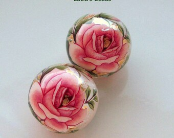 NEW Gorgeous Pair Pink Rose on Pearl Japanese Tensha Beads 16 MM