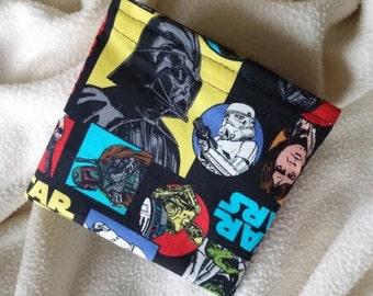 "Reusable Snack Bag, Sandwich Bag, Grab Bag, Party Favor, Change Purse, Teacher Gift, ""Star Wars Colorful Characters"""