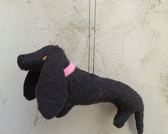 Black Felt Dachshund / Miniature Decoration / Ornament / Ready to Ship - Bella