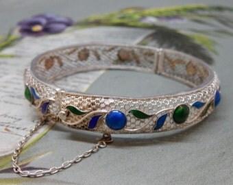 Vintage Enamel and Silver Filigree Hinged Bangle Bracelet