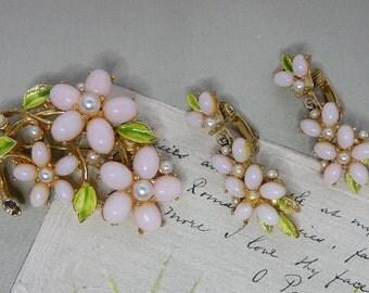 Vintage Signed ART Pink Cabochon Flower Brooch & Dangle Earrings Set