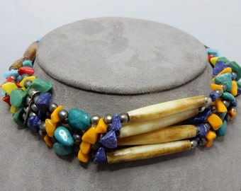 Hand Made Native American Bone & Chip GemStone Choker Tie On Necklace    NAW31