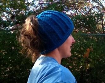 Sapphire Blue  PonyHat Messy Bun Hat