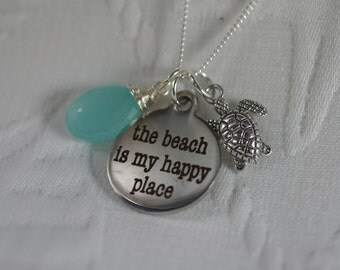 The Beach is my Happy Place Necklace - Customize Your Charm and Stone - Beach Lover