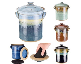 Hand Thrown Pottery Compost Jar with Filter Holding Ventilated Lid your choice of glaze. Made to order-->> up to 8 weeks