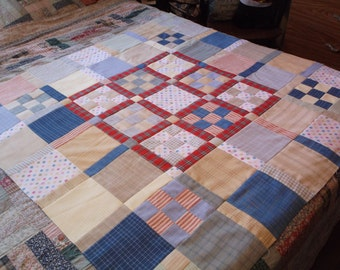 Unfinished quilt top flannel 9 patch quilt top