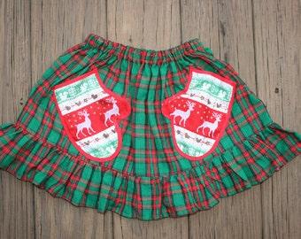Red Green Skirt  Christmas  Skirt  Green  Red Christmas Skirt  Twirl Skirt.