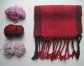 Red and Black Handwoven Scarf Size Small