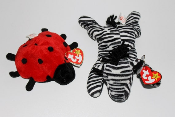 Beanie Babies Ziggy Zebra And Lucky Ladybug Both By
