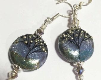 JBB Violet Nights Handmade Lampwork Earrings
