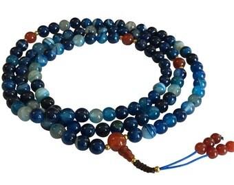 Tibetan Mala Blue Agate 108 Beads with Carnelian Guru Bead and Spacers for Meditation