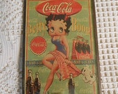 Rare COCA COLA Betty BOOP 1940's Ad Boop-A-Licious Tag, Classic Cartoon Lady Dog Tugging Blanket, Coke Bottles Guy Gift Home Bar Decor 4 x 6