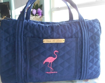 navy blue bag flamingo bag hand bag
