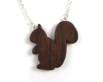 Woodland Squirrel Necklace Wood Squirrel Pendant Wooden Animal Jewelry Hand Cut Scroll Saw