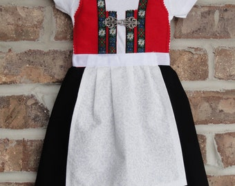 TODDLER sizes International dress with tie apron