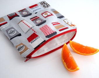 Food Storage Bag, Reusable Sandwich Bag Zipper Pouch, Handmade, Ready to Ship
