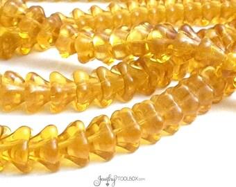 Amber Bell Flower Beads, Czech Glass Beads, Large Bell Flower Bead Cap, 11x13mm Bell Flower Beads Teal Green Beads, Lot Size 10, #317