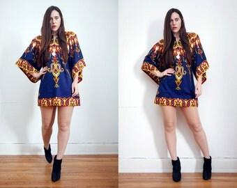 Vintage Indian Batik Hippie Angel Sleeve Kimono Kaftan Boho Mini Dress 70's