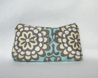 Monogram Zipper Pouch - Amy Butler Wallflower Costmetic Bag with Custom Embroidery