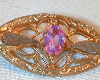 Victorian Petite Gold Filled Collar Pin w/ Pink Stone