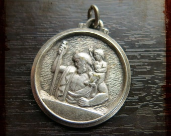 Antique French Silver Saint Christopher Religious Medal - Jewelry devotion pendant from France
