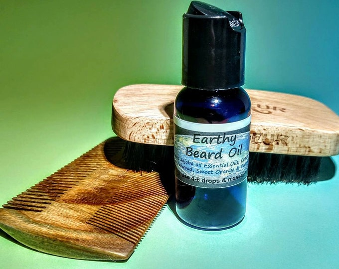Beard Oil Earthy blend brd003a with Jojoba, Cedar wood, Sandalwood, Sweet Orange & Patchouli 1 oz