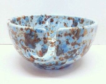 Ceramic Yarn Bowl - Hand Painted - Blue with Brown and White - READY TO SHIP