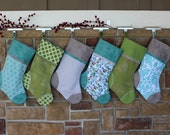 Pick Any 3 Plush Stockings.  Set of Three Personalized Christmas Stockings with Embroidered Name Tags.  SALE.