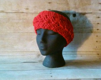 Earwarmer Headband, Red Cabled Headband, Cabled Earwarmer, Adult Headband Earwarmer, Crochet Headband, Crochet Earwarmer, Womens Earwarmer