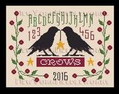 Crows Cross Stitch, Primitive Cross Stitch, Blackbird Cross Stitch, Ravens Silhouette, Country Sampler, Bird Sampler from NewYorkNeedleworks