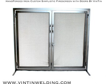 Made to Fit Your Fireplace Hand Forged Iron Stand Alone Simplistic Fireplace Screen with Locking Doors by VinTin (Item # F-225)