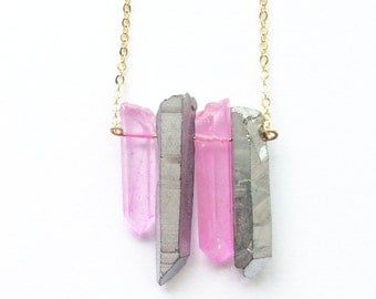 Galactic Necklace - with dyed and plated Quartz Crystal