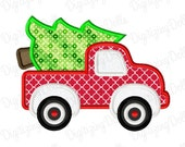 Digitizing Dolls Christmas Tree Truck Applique Embroidery Design 4x4 5x7 6x10 INSTANT DOWNLOAD