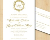 Printable Wedding Invitation - Baroque Gold Frame with Monogram and Calligraphy