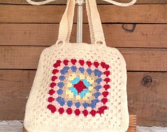 Vintage Antique 1960's Midcentury Crocheted Granny Square Hippie Yarn & Felt Shoulder or Handbag