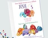 Gemstone Invitations - Gem Party - Acheological Dig Birthday - Gemstone Birthday - Watercolor - Printable Invitations - Dig Birthday
