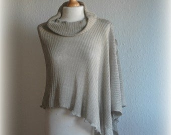 Grey LINEN Poncho ,Knitted Linen, Turtleneck Poncho ,Unique Clothing, Eco Friendly, Poncho, Natural Clothing,Wrap Sweater,Grey Poncho,